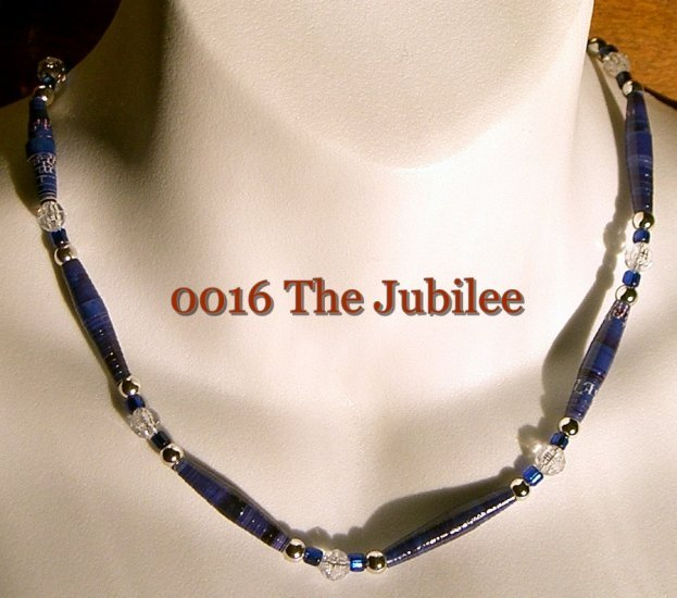 "PAPER MOON BEADS Handmade Paper Bead Necklace JUBILEE 16"" NEW"