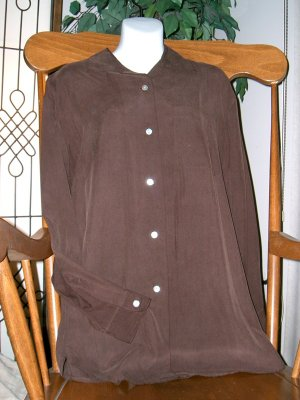ANN TAYLOR Brown 100% Silk Shirt/Top Size/Sz M/Medium!