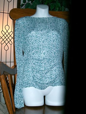 KENNETH COLE Ruched Snakeskin Blue Top Size/Sz L Large!