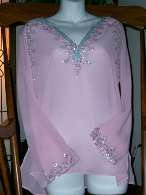 CLEARANCE DAISY FUENTES Sexy Pink Sheer Mesh Top S BEADS!