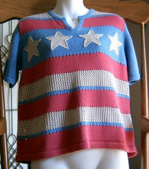 CLEARANCE CHRISTOPHER & BANKS Stars & Stripes Sweater S