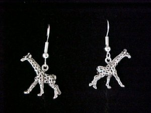 Silvertone giraffe earrings