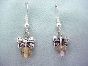 Handmade butterfly and bead earrings with wires