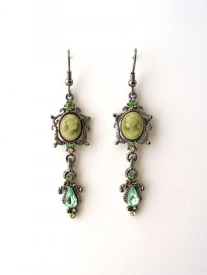 Elegant small cameo crystal drop earrings