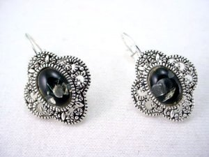 molten,bubbleglass, marcasite earrings