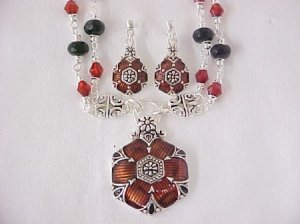 Brown and amber Floral enamelled necklace and earrings set