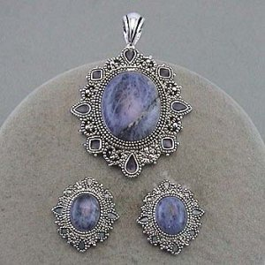 Marcasite, rhinestone pendant and earring set. Lapis type stones