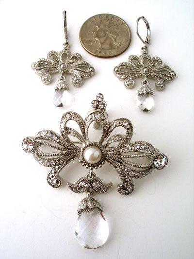 Rhodium,marcasite,rhinestone drop pendant and earring set