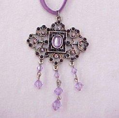 Lavender vintage look rhinestoned filagree, drop necklace