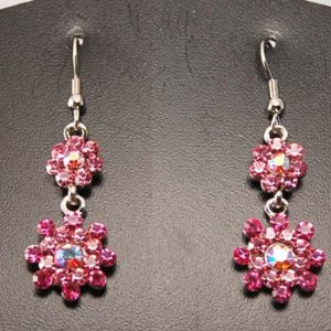 Double flower rhinestone earrings