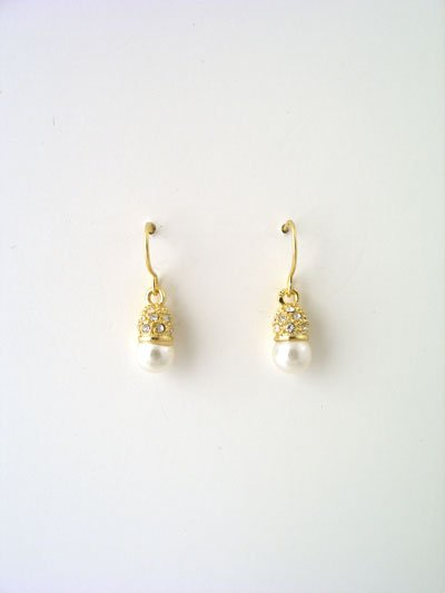 Small gold and rhinestone faux pearl drop