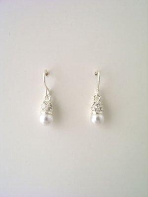 Silver rhinestoned capped faux pearl earrings
