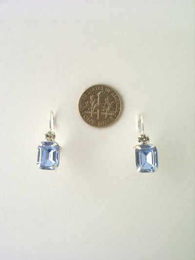 Rectangular swarovski crystal in silver setting -earrings