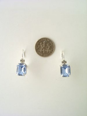 Rectangular swarovski crystal in silver setting -earrings