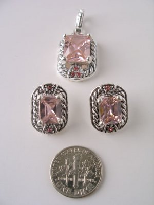 Pink Cubic Zirconia Pendant and Earring Set