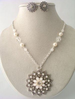 Filagree Shell and Silver Necklace and Earring Set