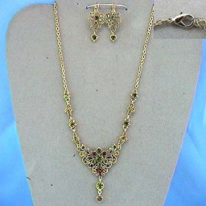 Vintage feel ornate gold-tone Necklace and Earring Set