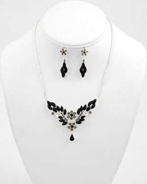 Black and Silvertone Austrian Crystal NK and ER Set