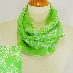 Lime Colored Scarf with White Flowers