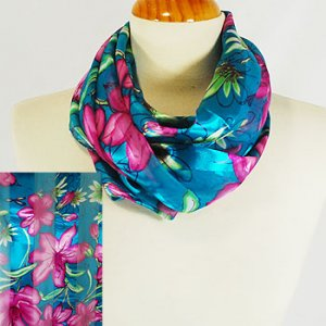 Teal and Pink Lily Tropical Rectangular Scarf