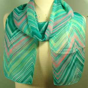 Lightweight Pastel Pink and Green Chevron Scarf