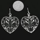 Silvertone Filagree Fleur de lis  Heart Earrings