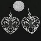 Silvertone Filagree Fleur de lis  Heart Earrings