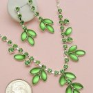 Pastel Green Leaf Necklace and Earring Set