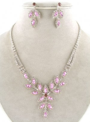 Amethyst and Clear Crystal Fomal Necklace and Earring Set