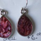 Dark Pink Paua Shell Earrings