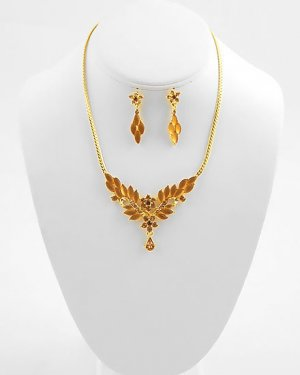 Amber Austrian Crystal Floral Necklace and Earring set
