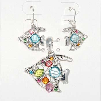 Multi Color Fish Necklace and Earring Set