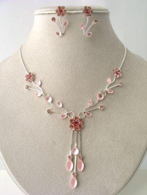 Pink Austrian Crystal Floral Leaf Drop Necklace, Earring Set