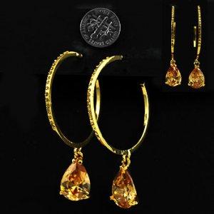 Huge Goldtone, Crystal Hoops with CZ teardrop stone
