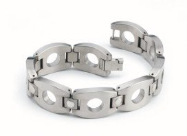 Men's Dual Toned and Circled Titanium Bracelet