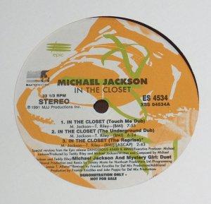 "MICHAEL JACKSON In The Closet '91 12"" PROMO REMIX LP"
