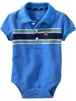 Baby Gap Romper - Chest striped polo bodysuit (12-18M)
