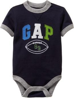 Baby Gap Romper - Football Ringer Bodysuit (12-18M)