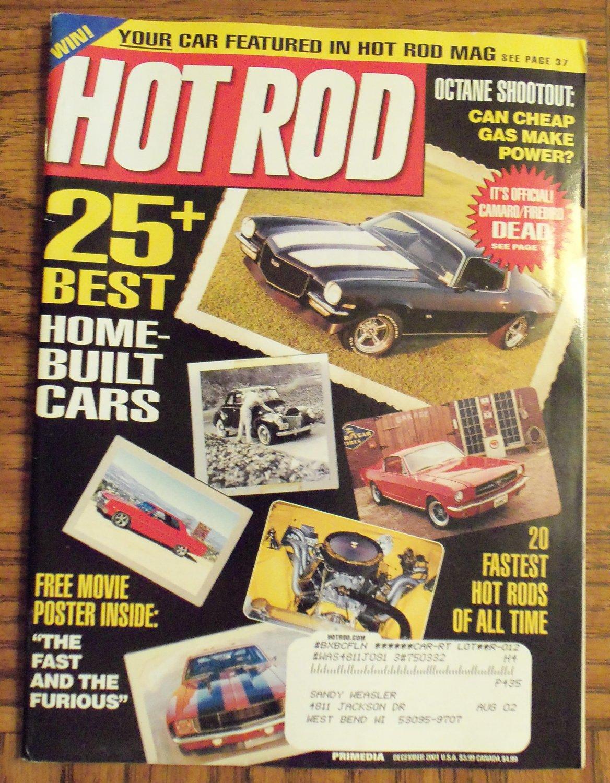 Hot Rod December 2001 25 Best Home Built Cars Back Issue Magazine 1M