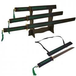Black and Green Slayer 3 Ninja Sword Set