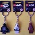 Lot of 3 Lego Star Wars Key Chains NEW Darth Vader, Chewbacca, Stormtrooper key chain