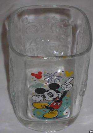 Lot of  2 -2000 Walt Disney Glass Tumbler Magic Kingdom Mickey Mouse