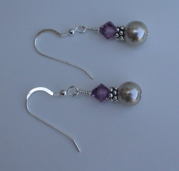 Beaded Amethyst Earrings