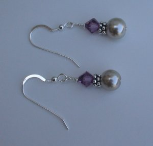 Beaded Amethyst Earrings