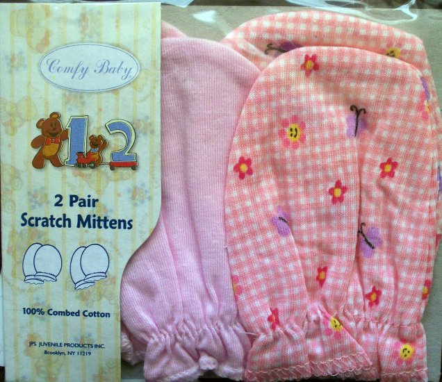 *Comfy Baby*  2 pairs Infant Scratch Mittens - Pink