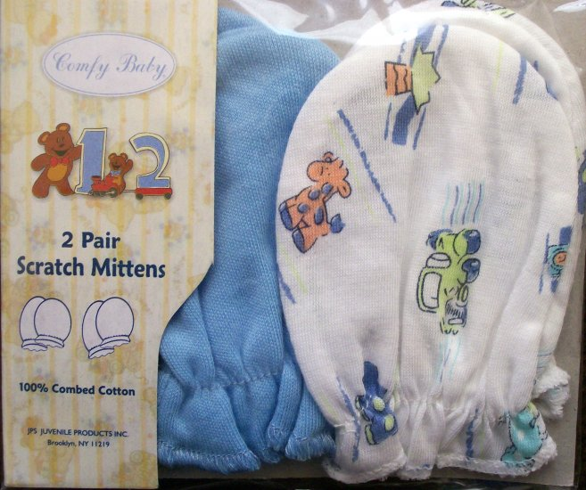 *Comfy Baby* 2 pairs - Infant Scratch Mittens - Blue/White