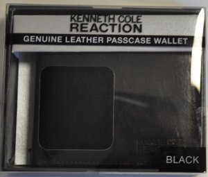 Kenneth Cole Reaction Genuine Leather Passcase Wallet (Black)