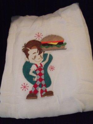 Embroidered Retro Big Boy Hamburger Dish Kitchen Towel