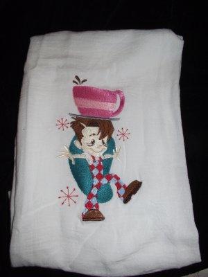 Embroidered Retro Big Boy Coffee Dish Kitchen Towel