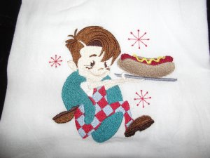 Embroidered Retro Big Boy Hot Dog Dish Kitchen Towel